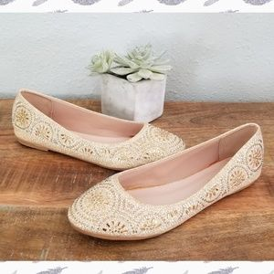 Bejeweled Gold Flats by Forever